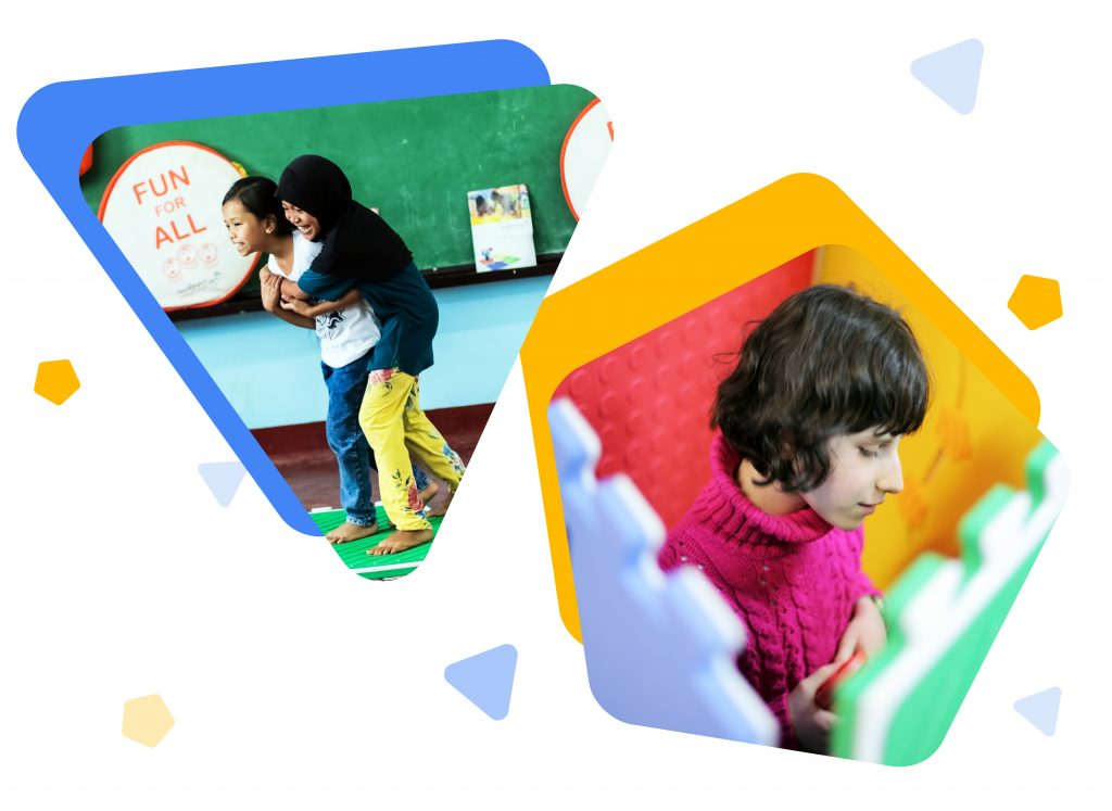 young children playing with Reach and Match Learning Kit