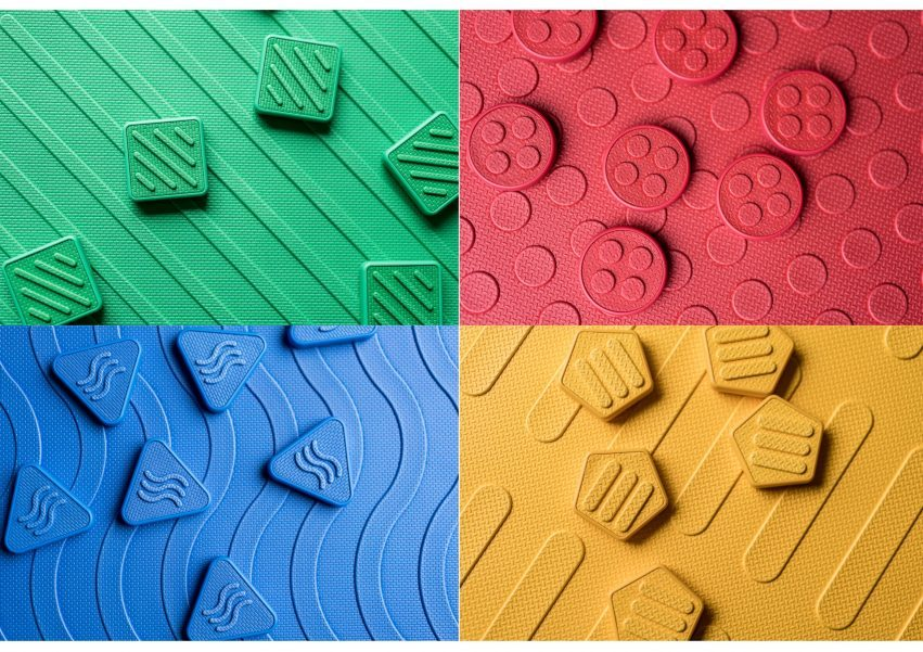 reach and match red blue green yellow pattern mats with braille tiles