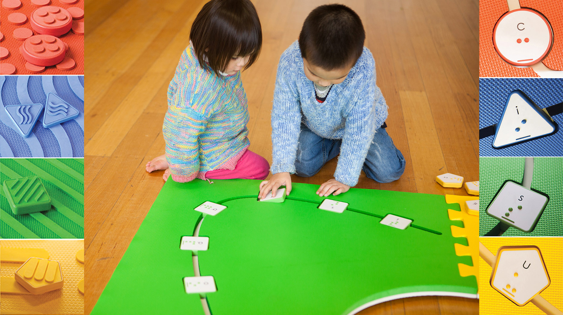 two children are playing on the reach & match mats.